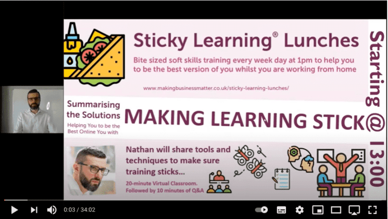 Screenshot of sticky learning lunch