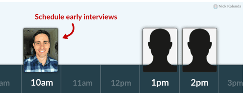 Timeline showing interview time slots