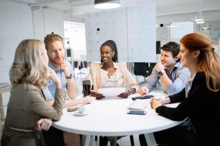 Business people meeting at round table