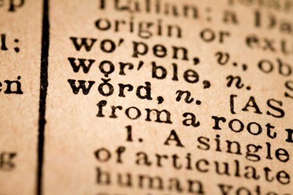 Close-up of an Opened Dictionary showing the Word WORD