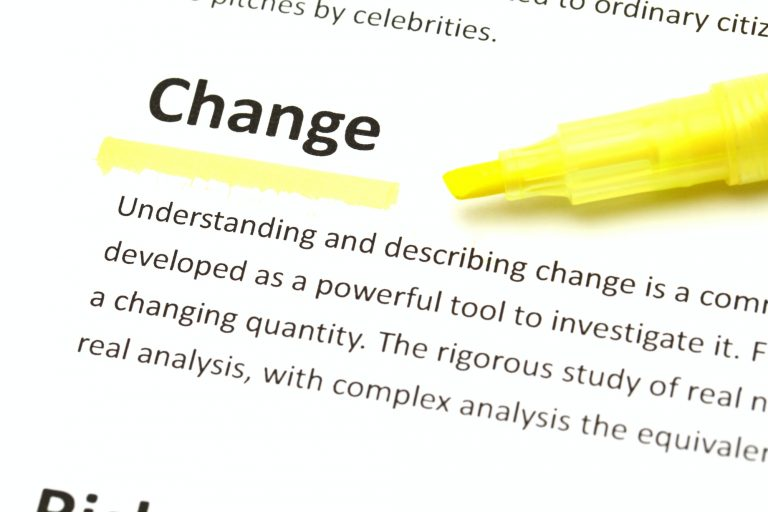 Definition of change highlighted