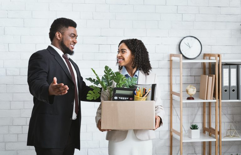 Boss welcomes new employee on first day