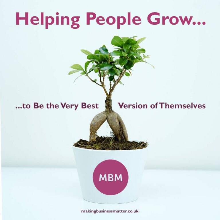 Plant pot with MBM logo and Helping people grow slogan