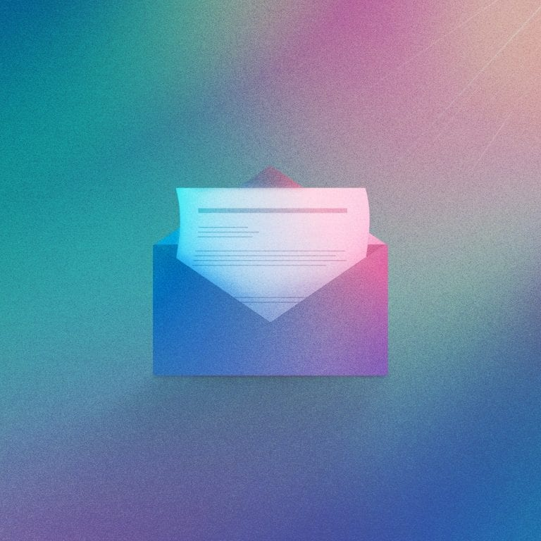 Email illustration in pink and blue