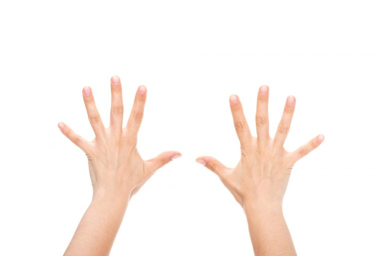 Child's hands showing 10 fingers
