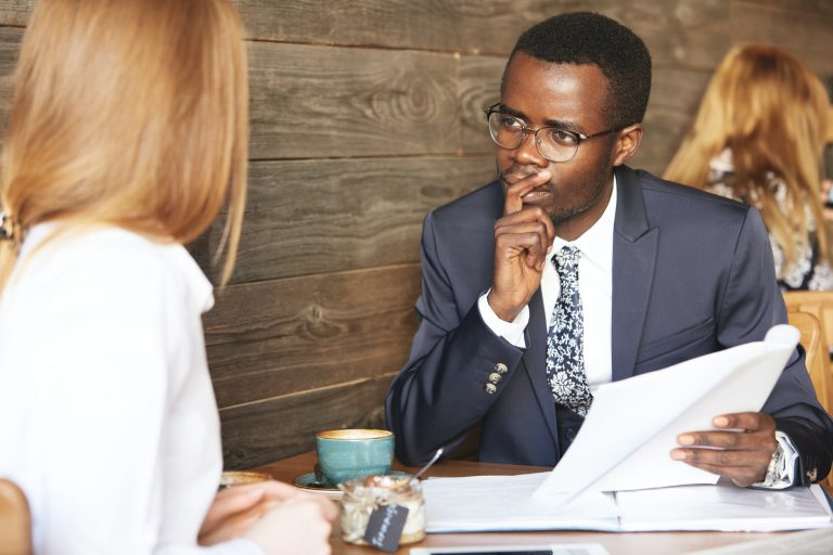 HR manager talking to a businesswoman