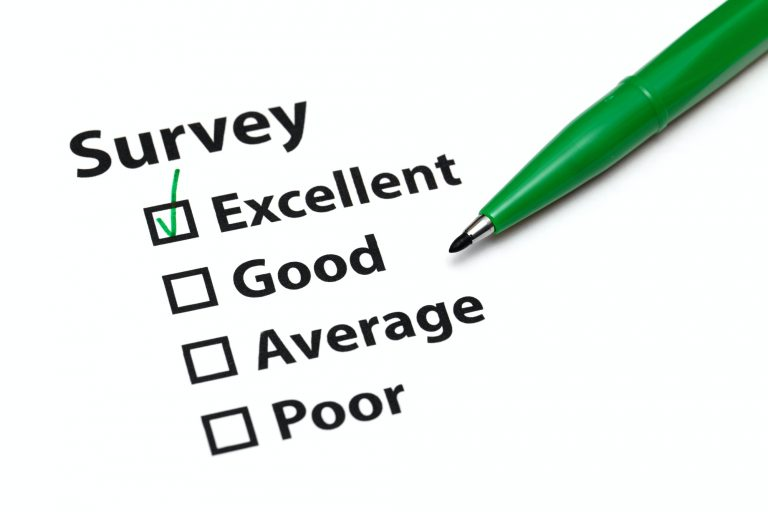 Survey with 4 tickboxes with green pen