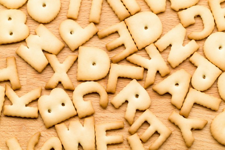 Many biscuits in the shape of letters