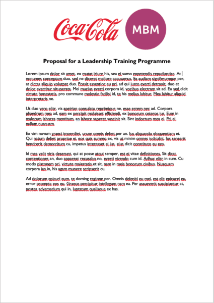 Document with Coca Cola and MBM logos at top, titled Leadership Training programme