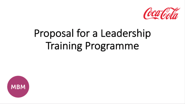 Letter with Coca Cola logo in corner titles Proposal for Leadership Training programme