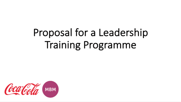 Proposal for a Leadership Training programme with MBM and Coca Cola logos