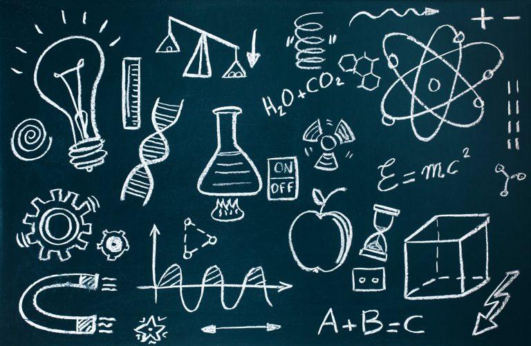 mathematical drawings on blackboard background