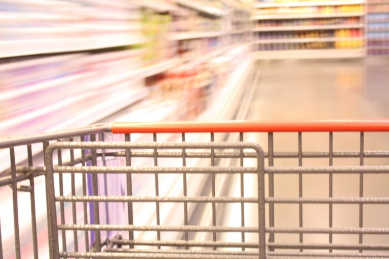 Close up of trolley with blurred background