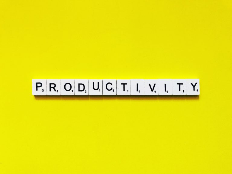 The word productivity written in Scrabble tiles