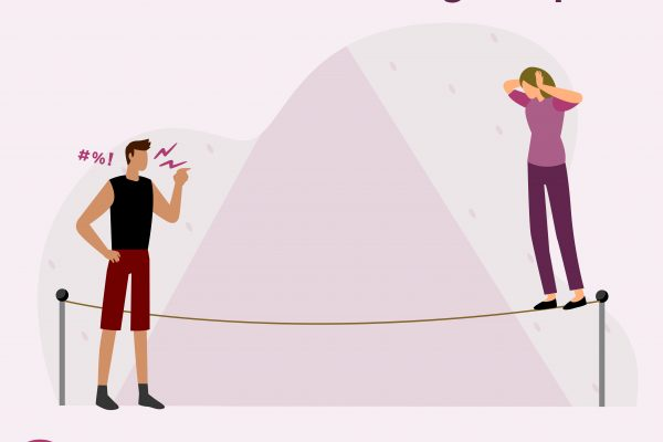 Graphic of person on tightrope with someone at the end