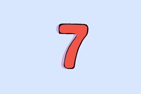 Red number 7 on a blue background