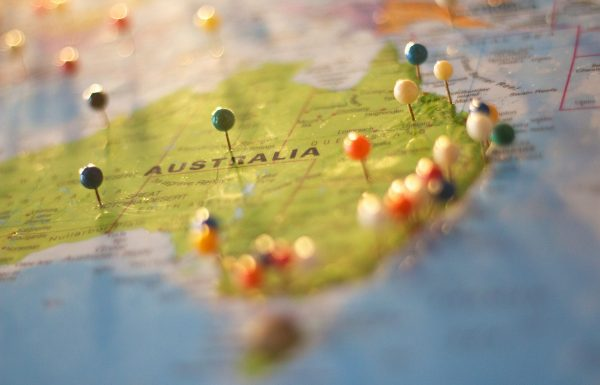 Map of Australia with pins in different locations
