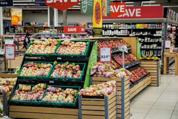 A fruit and veg display in a supermarket