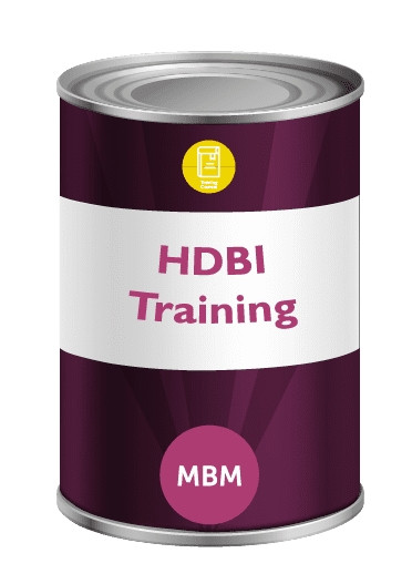 Purple tin with HBDI Training on the label