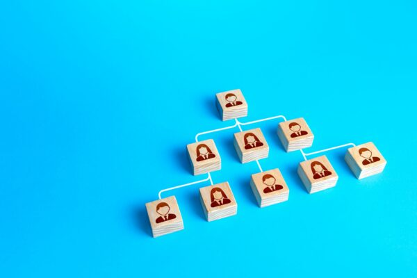 Blocks connected by lines form a hierarchical pyramid of the company. Personnel management