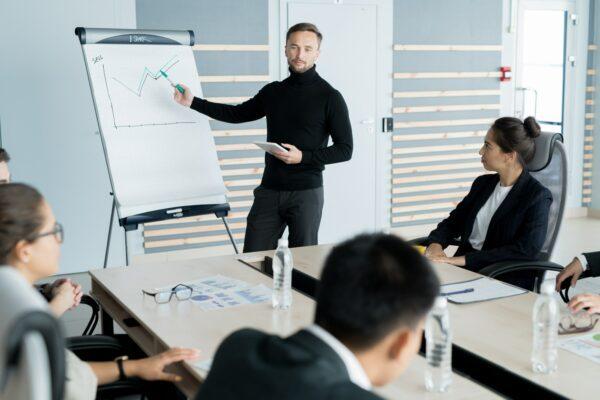 Businessman reporting at presentation