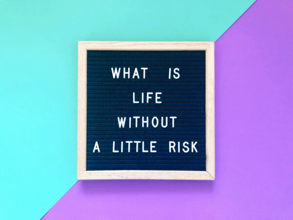 What is life without a little risk quote on blackboard